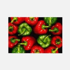 Red and green peppers Rectangle Magnet