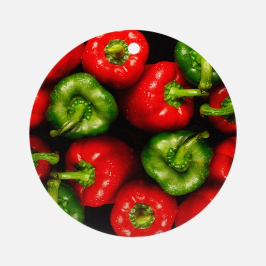 Red and green peppers Round Ornament
