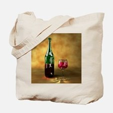 Red wine bottle and glass, artwork Tote Bag