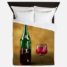 Red wine bottle and glass, artwork Queen Duvet