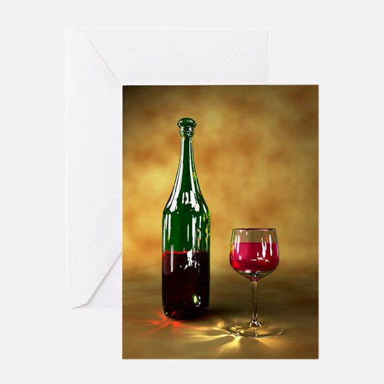 Red wine bottle and glass, artwork Greeting Card