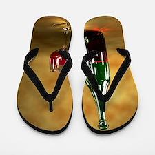 Red wine bottle and glass, artwork Flip Flops