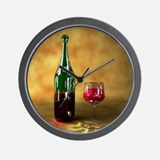 Red wine bottle and glass, artwork Wall Clock
