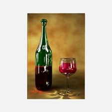 Red wine bottle and glass, artwor Rectangle Magnet