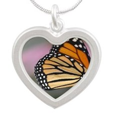 A beautiful monarch butterfl Silver Heart Necklace