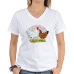 White Red Chickens Women's V-Neck T-Shirt