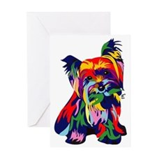 Bright Rainbow Yorkie Greeting Card
