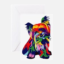 Bright Rainbow Yorkie Greeting Card