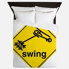 Helicopter Swing Caution Sign Queen Duvet