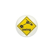 Helicopter Swing Caution Sign Mini Button