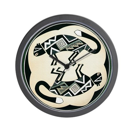 MIMBRES MOUNTAIN LION BOWL DESIGN Wall Clock