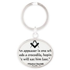 Winston Churchill Quote Oval Keychain
