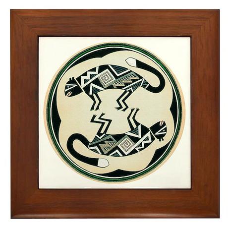 MIMBRES MOUNTAIN LION BOWL DESIGN Framed Tile
