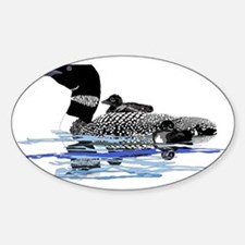 Loon with babies Sticker (Oval)