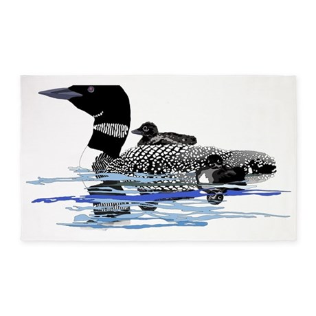 Loon with babies 3'x5' Area Rug