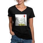 White Rooster Women's V-Neck Dark T-Shirt
