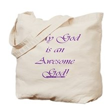 Awesome God purple script Tote Bag