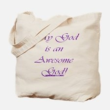 Awesome God purple script Tote Bag