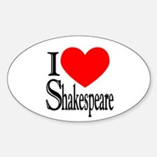 I Love Shakespeare Oval Decal