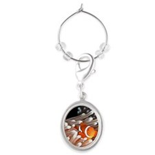 A clownfish hiding in an anemone Oval Wine Charm