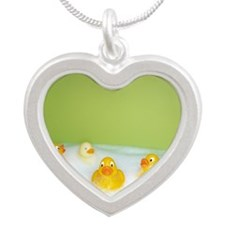 Rubber ducks Silver Heart Necklace