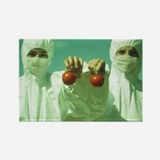 Scientists holding GM tomatoes Rectangle Magnet