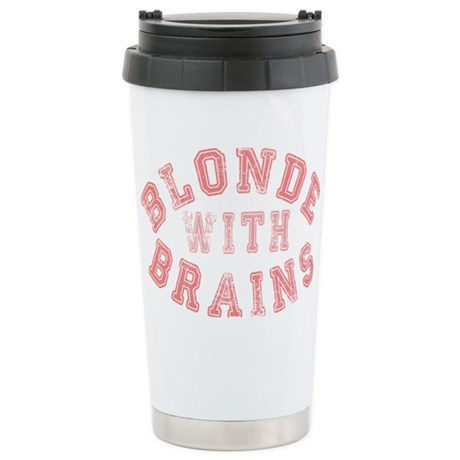 Blonde with Brains Stainless Steel Travel Mug