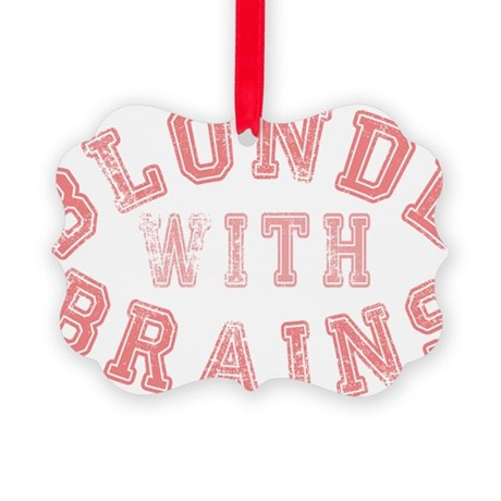 Blonde with Brains Picture Ornament