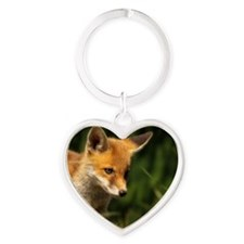 A young Red Fox cub peering through Heart Keychain