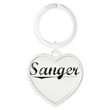 Sanger, Vintage Heart Keychain
