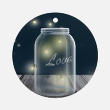 Midnight Fireflies Mason Jar Round Ornament