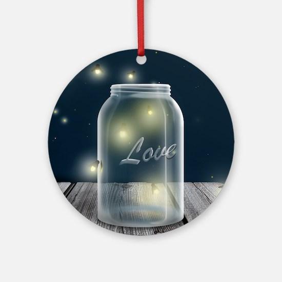 Midnight Fireflies Mason Jar Round Ornament