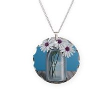 White and Purple Daisy Mason Necklace