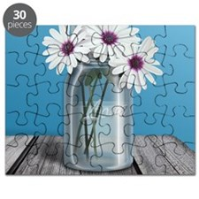 White and Purple Daisy Mason Jar Blue Puzzle