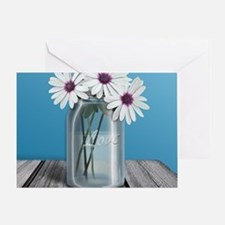 White and Purple Daisy Mason Jar Blu Greeting Card