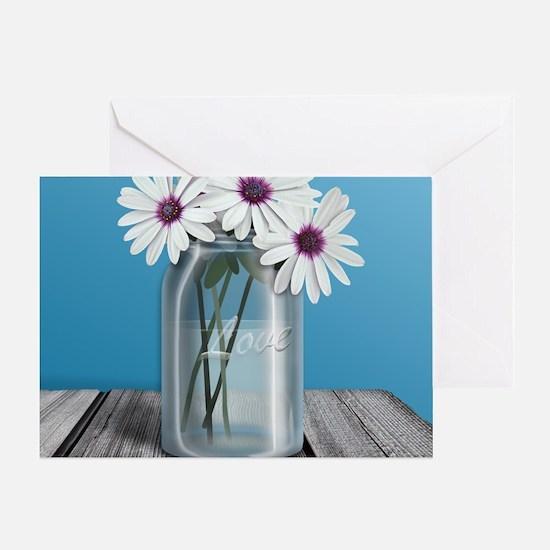 White and Purple Daisy Mason Jar Blu Greeting Card