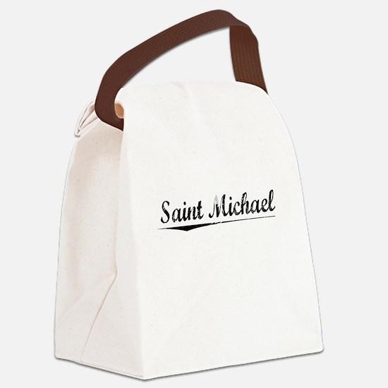 Saint Michael, Vintage Canvas Lunch Bag