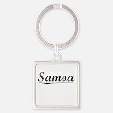 Samoa, Vintage Square Keychain