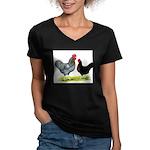 Black Sex-link Chickens Women's V-Neck Dark T-Shir