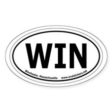 Winchester, Mass. Oval Bumper Sticker (two lines).