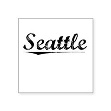 "Seattle, Vintage Square Sticker 3"" x 3"""