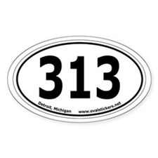 "Detroit, Michigan ""313"" Oval Car Decal"