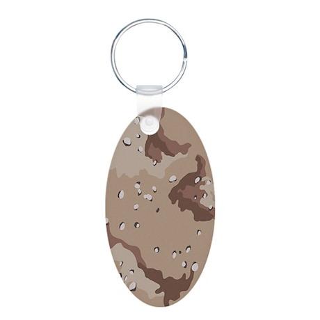 Desert Camouflage Aluminum Oval Keychain