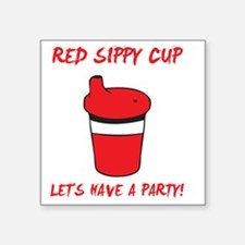 "Red Sippy Cup Square Sticker 3"" x 3"""