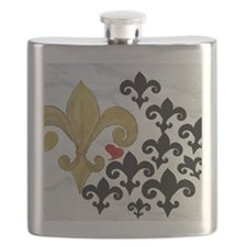 Black and Gold Fleur de lis party Flask