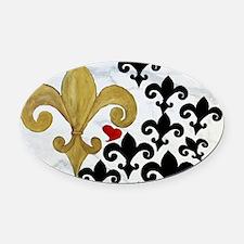 Black and Gold Fleur de lis party Oval Car Magnet