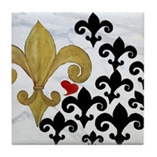 Black and Gold Fleur de lis party Tile Coaster