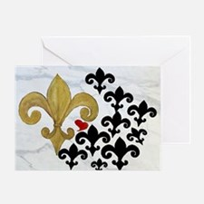 Black and Gold Fleur de lis party Greeting Card