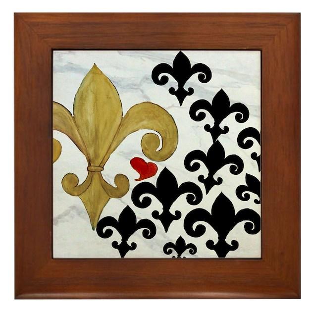 Black and Gold Fleur de lis party Framed Tile by Admin_CP3632229