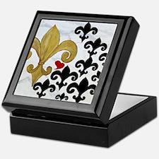 Black and Gold Fleur de lis party Keepsake Box